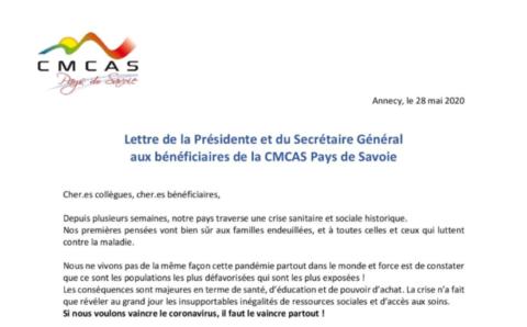 Lettre de la Présidente et du Secrétaire Général aux bénéficiaires de la CMCAS Pays de Savoie